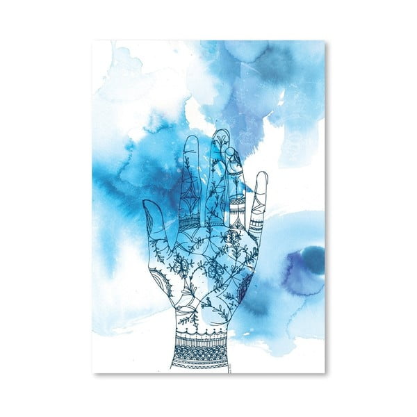 Plagát Blue Wash Hand, 30x42 cm