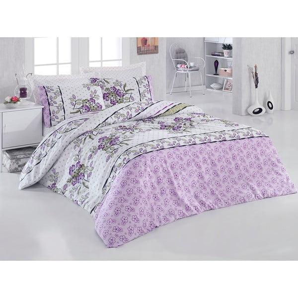 Fialové obliečky s plachtou Love Colors Polite, 160 x 220 cm
