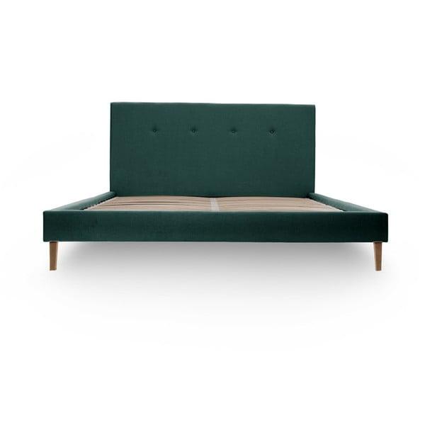 Zelenomodrá posteľ s prírodnými nohami Vivonita Kent 140x200cm