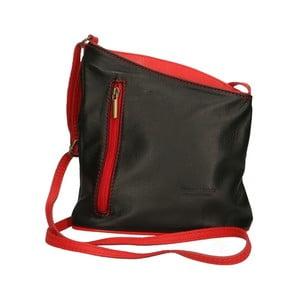 Čierno-červená kožená kabelka Chicca Borse Garturo