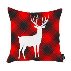 Červená vianočná obliečka na vankúš Apolena Honey White Deer Christmas, 45 x 45 cm