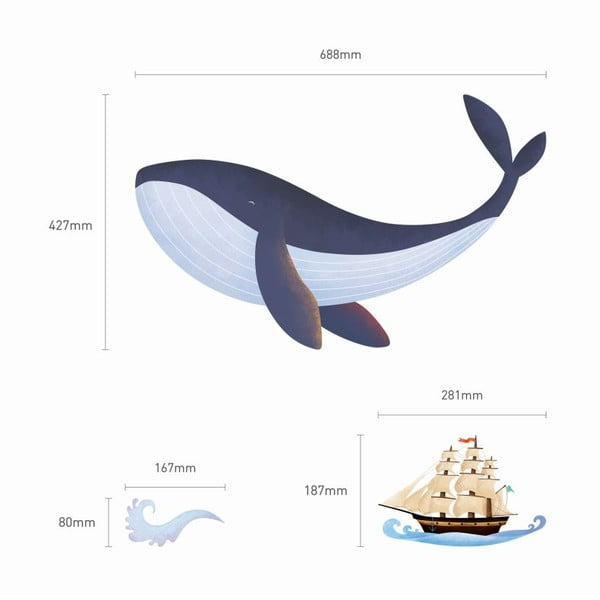 Samolepka Whale, Boat and Fishes