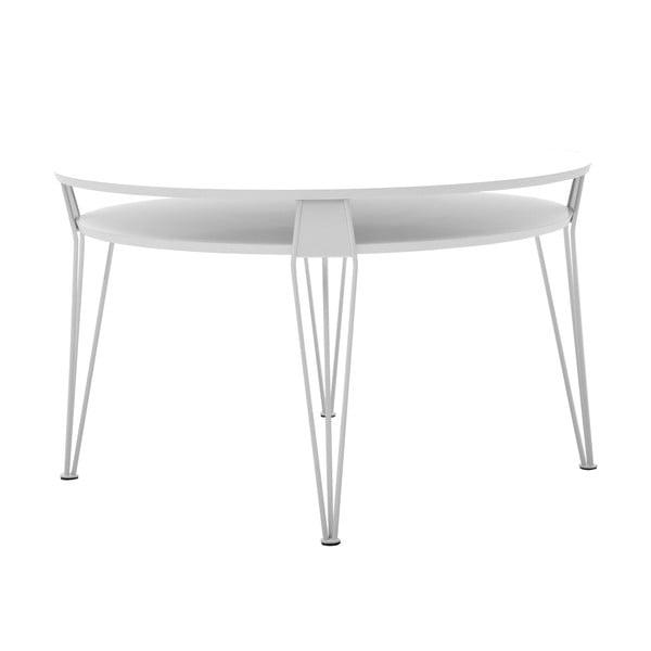 Biely konferenčný stolík s bielymi nohami RGE Ester, 88 x 88 cm