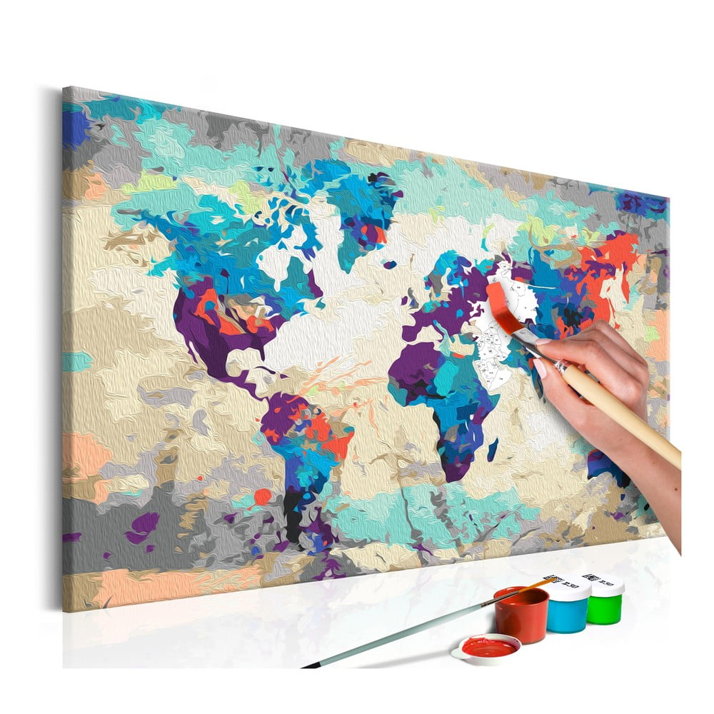 DIY set na tvorbu vlastného obrazu na plátne Artgeist World Map, 60 × 40 cm