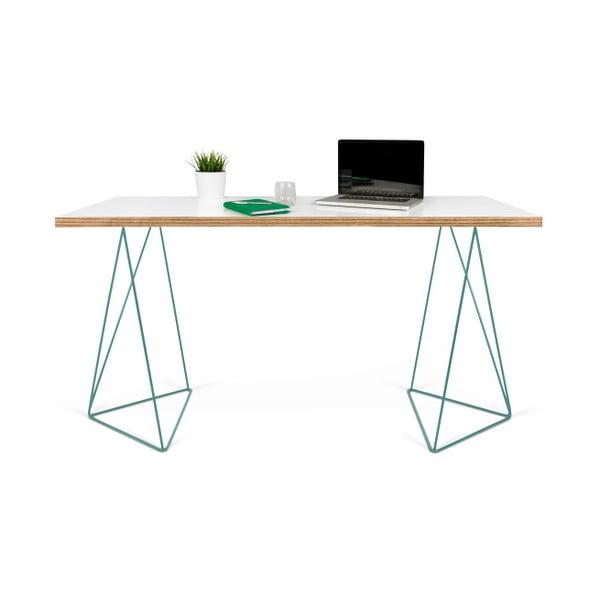 Biely pracovný stôl so zelenými nohami TemaHome Flow