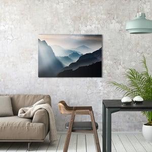 Sklenený obraz OrangeWallz Misty Mountains, 60 x 90 cm