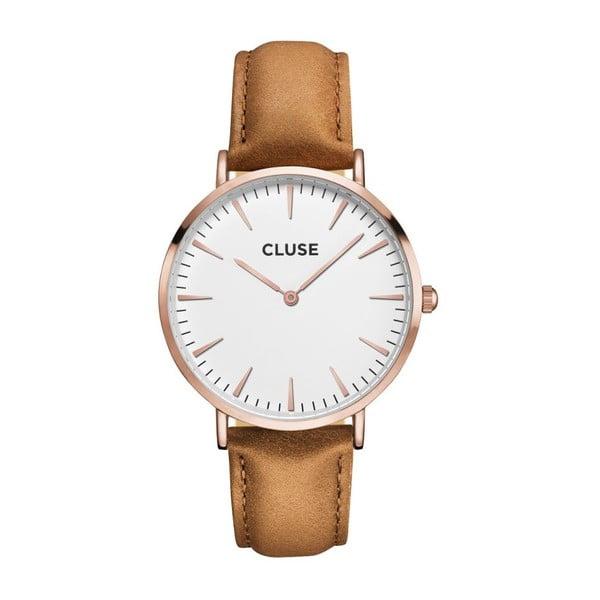 Dámske hodinky so svetlohnedým koženým remienkom a detailmi vo farbe ružového zlata Cluse La Bohéme