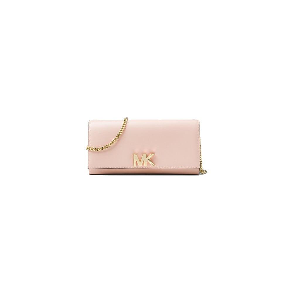 Svetloružová kožená listová kabelka Michael Kors Mott