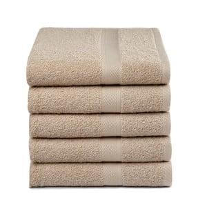 Sada 5 béžových uterákov Ekkelboom, 50x100 cm