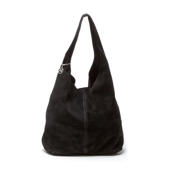Kožená kabelka Perlita, čierna