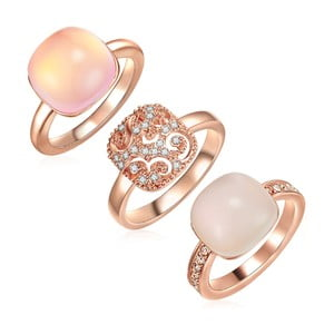 Sada 3 prsteňov s krištáľmi Swarovski Lilly & Chloe Christia, veľ. 60