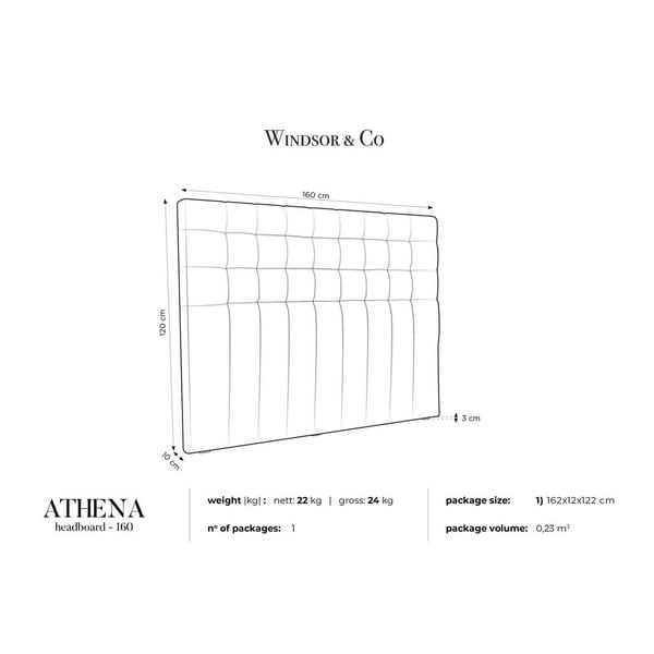 Sivé čelo postele so zamatovým poťahom Windsor & Co Sofas Athena, 160×120 cm