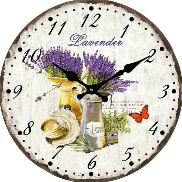 Sklenené hodiny Levandule, 38 cm