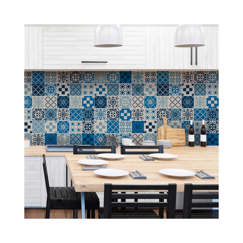 Sada 60 nástenných samolepiek Ambiance Wall Decal Cement Tiles Azulejos Caralinera, 10 × 10 cm
