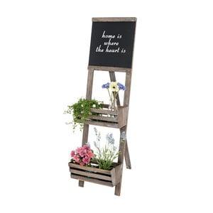 Hnedý stojan na kvetiny s ceduľou Mendler Shabby Chic