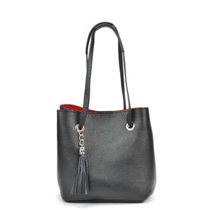 Čierna kožená kabelka Mangotti Bags Aurora
