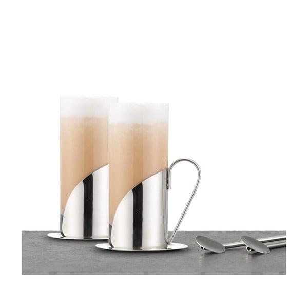 Sada 2 pohárov a lyžičiek na latté Le'Xpress