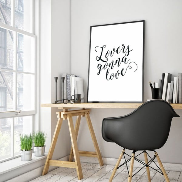 Plagát v drevenom ráme Lovers gonna love, 38x28 cm