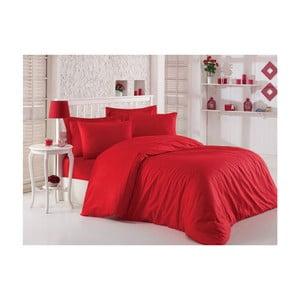 Červené obliečky s plachtou na dvojlôžko z balvneného saténu, 200 x 220 cm