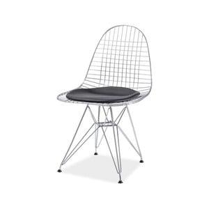 Jedálenská stolička z chrómovanej ocele a podsedákom z eko kože Signal Intel