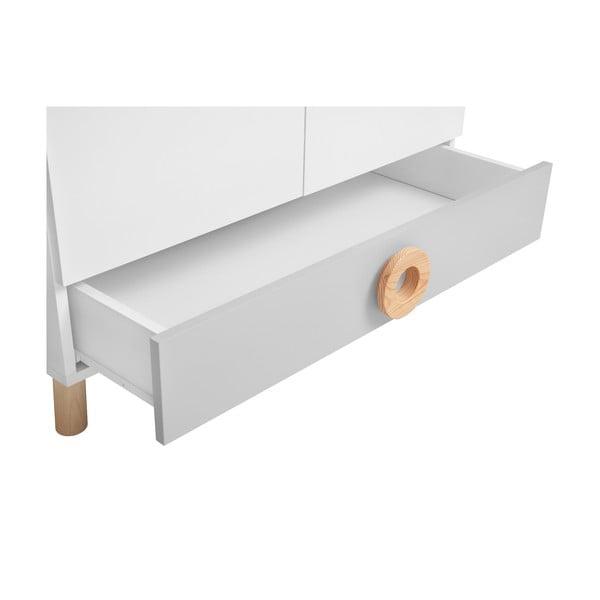 Sivo-biela šatníková skriňa KICOTI Circle