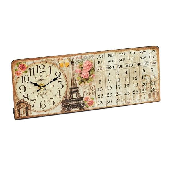 Nástenné hodiny s kalendárom Eiffel, 35x14 cm