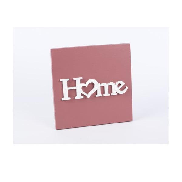 Drevený obraz Home 30x30 cm, růžový