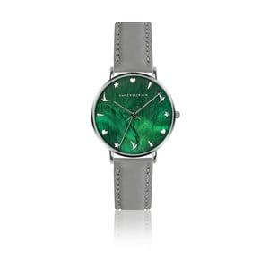 Dámske hodinky so sivým remienkom z pravej kože Emily Westwood Grace