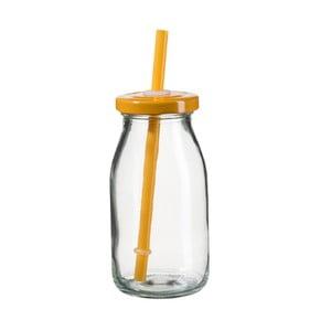 Fľaša na smoothie s oranžovým viečkom a slamkou SUMMER FUN II, 200ml