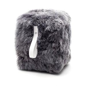 Sivo-biely hranatý puf z ovčej vlny Royal Dream