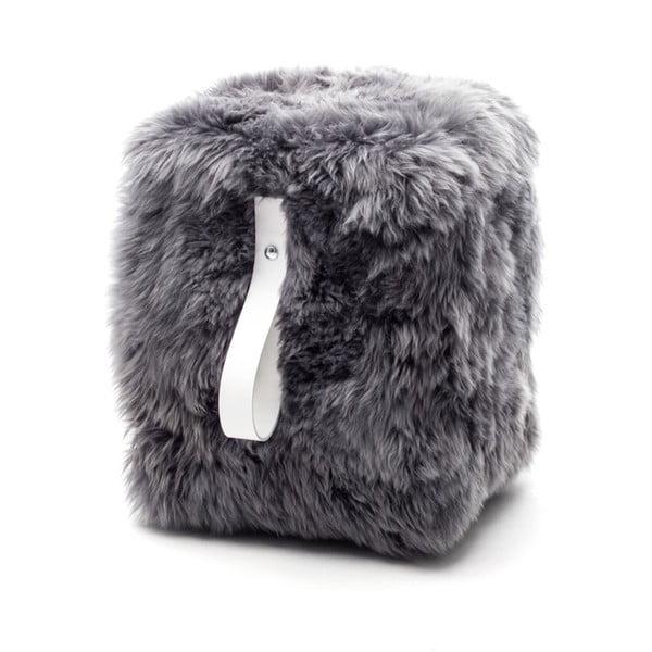 Sivo-biely hranatý puf Royal Dream