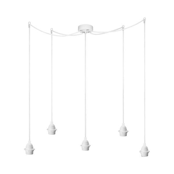 Biele závesné svietidlo s 5 káblami Bulb Attack Uno Primary
