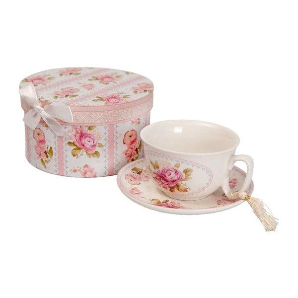 Hrnček s tanierikom v darčekovom boxe Antic Line Roses