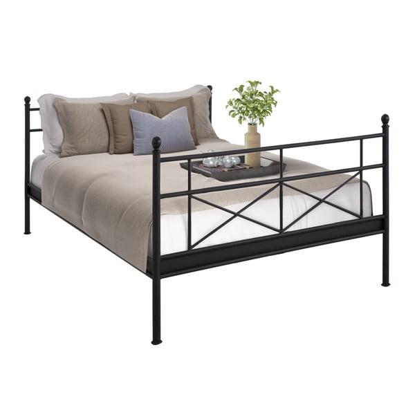 Čierna kovová dvojlôžková posteľ Støraa Tanja, 160 x 200 cm
