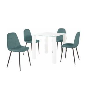 Sada jedálenského stola a 4 tyrkysových stoličiek Støraa Dante, dĺžka stola 80 cm