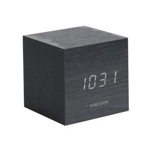 Čierny budík Karlsson Mini Cube, 8×8 cm