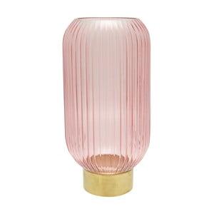 Ružová sklenená váza s kovovým podstavcom Green Gate, výška 31cm