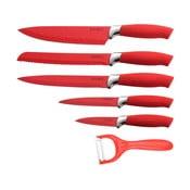 6 dielna sada nožov Non-stick Color, červená