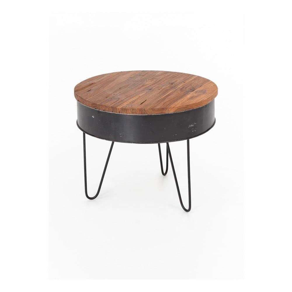 Konferenčný stolík s doskou zo zinku a teakového dreva WOOX LIVING, ⌀ 60 cm