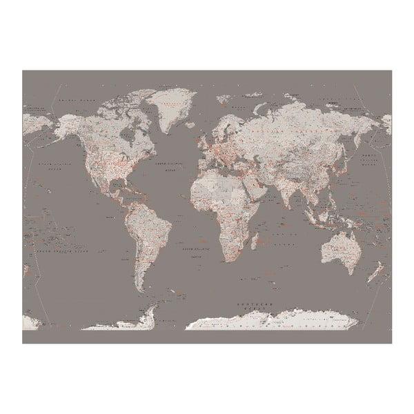 Veľkoformátová tapeta Strieborná mapa, 158x232 cm