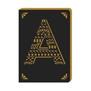 Linajkový zápisník A6 s monogramom Portico Designs A, 160stránok