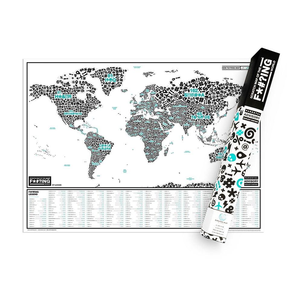 Stieracia mapa sveta Luckies of London Map Of The F * #? ING World