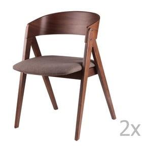 Sada 2 hnedých jedálenských stoličiek sømcasa Rina