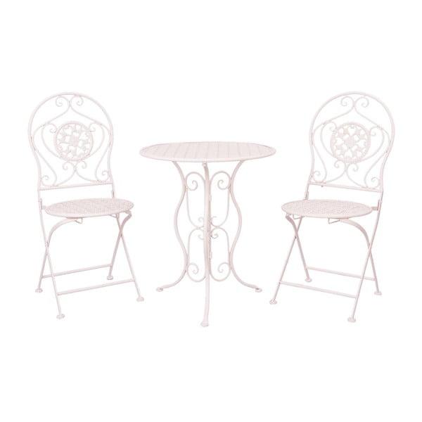 Sada kovového stolíka 2 stoličiek Provence, svetloružová