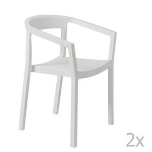 Sada 2 bielych záhradných stoličiek sopierkami Resol Peach
