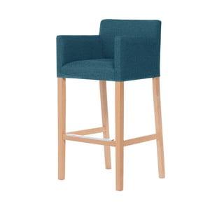 Tyrkysová barová stolička s hnedými nohami Ted Lapidus Maison Sillage