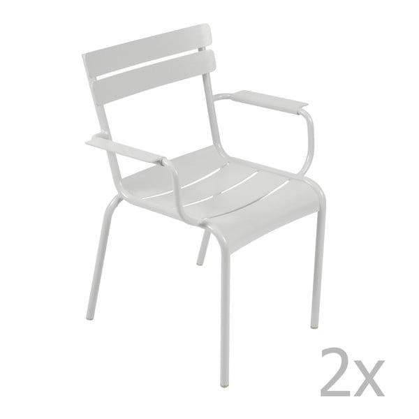Sada 2 svetlosivých stoličiek s opierkami na ruky Fermob Luxembourg