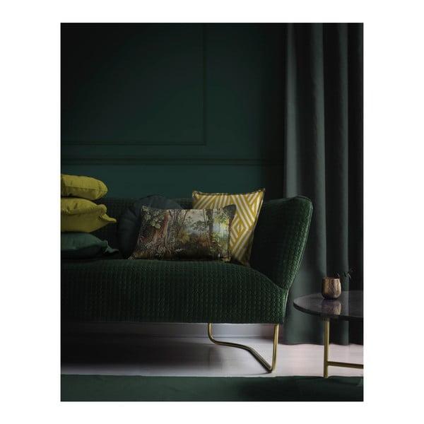 Žltá dekoratívna obliečka na vankúš Velvet Atelier Lines, 45×45cm