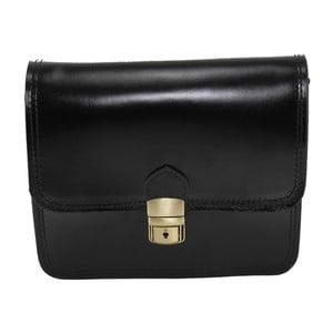 Čierna kožená listová kabelka Chicca Borse Blanch
