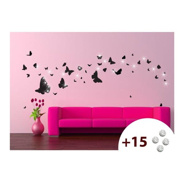 Set samolepky a 15 Swarovski krištáľov Ambience Butterflies